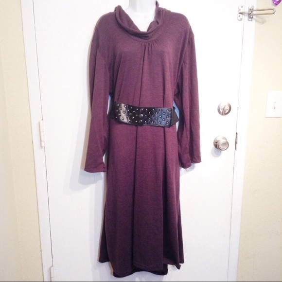 Gold Flava Dresses Plus Size Purple Cowl Neck Belted Sweater Dress